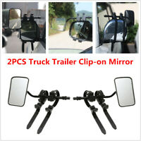 2PCS Truck Trailer RV Wide Field Mirror Clip-on Towing Extend Rearview Angle Fix