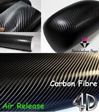30m 4D BLACK Carbon Fibre Vinyl Wrap Bubble Free Air Release Channels Decal Car