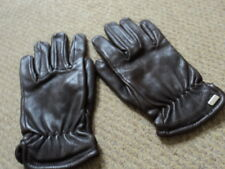Hugo Boss Mainline Mens Brown Leather Gloves Size M approx 8.5 inner wool USED