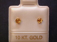 Feinste Citrin Ohrstecker Ohrringe - 3 mm - 14 Kt. Gold - 585 - Brillant Schliff