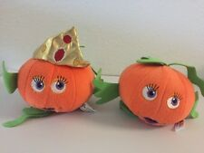 "Lot of 2 Toy Factory Plush Pumpkin Fish Halloween Decor Queen 5"" VGUC"