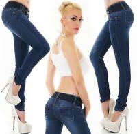 Damen Röhrenjeans Hose Jeans Denim Skinny Slim Stretch blau Gürtel XS S M L XL