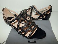 Miu Miu 38.5 8M Black Strappy Leather Studded Sandals Italy