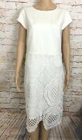 NWT Catherine Malandrino Dress Ivory White Crochet Lace Overlay Skirt Women's M