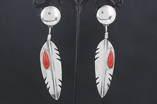 STERLING SILVER SOUTHWESTERN RED CORAL STONES FEATHER EARRINGS 925 FINE 6584