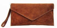 Ladies Italian Real Suede Light Brown Envelope Clutch Bag & Shoulder Strap PS103