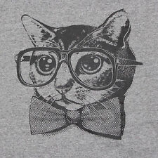 Hipster Cat T-Shirt 3XL Nerd Glasses Bow Tie Funny Novelty Humor