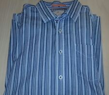 tommy bahama mens large blue striped button dress shirt long sleeve