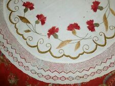 Antique Society Silk Doily Victorian Hand Embroidery Art Nouveau Carnations Lace
