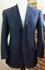 Brooks Brothers 1818 Madison Navy Baby Blue Windowpane Wool Cashmere SC 40r USA