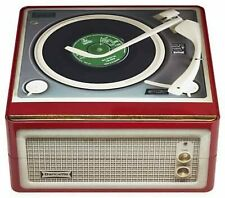 VINTAGE STYLE RECORD PLAYER DISGUISED METAL BISCUIT TIN STORAGE UNIT CONTAINER *