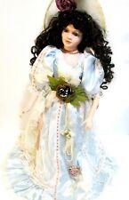 "Seymour Mann Porcelain Doll Victorian Lady Blue Dress Brown Hair 22"""