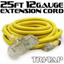 25Ft 12 /3 Gauge Industrial Power Electrical Extension Cords Cable Tri-Tap Ul