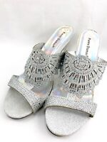 African Womens Shoes Silver Heels Rhinestone Sandals Size 10 Open Toe Slip On