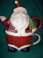 "Christmas,Santa, Tea For One, Christmas Decor, Stoneware by Holiday-2010- 9""Tall"