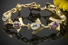 Schmuck Aufwändiges Aquamarin Amethyst Armband mit BRILLANTEN in 585er Gelbgold