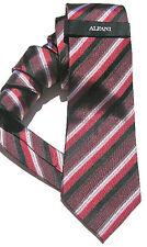 NEW Mens Silk Tie Necktie Black Burgundy Red Grey Diagonal Stripe Alfani A843