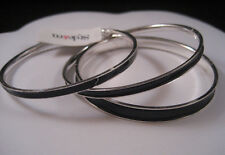 Style&Co. Silver Tone Metal Bangle Bracelet Set Black Inlay Macy's New