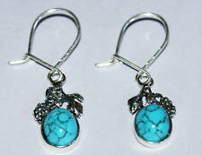 Oval Turquoise Earrings with Silver 925 Grapes.