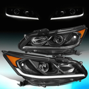 FOR 2016-2017 HONDA ACCORD EX SPORT BLACK AMBER LED DRL PROJECOTR HEADLIGHTS