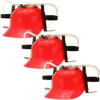 3x Bierhelm Biertrinkerhelm Trinkhelm Mobile Minibar  Helm mit Dosenhalter Rot