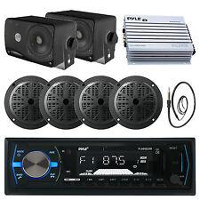 Marine 400W Amplifier,Black Bluetooth AUX Radio,Antenna, 6.5 and Box Speaker Set