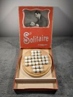 Vintage German Solitaire Game Board Box & Marbles JWS & S Bavaria Antique
