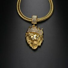 Jewelry Men Gold Filled Women Necklace Bling Lion Head Pendant Crystal