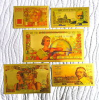 """★ COLLECTION COMPLETE 5 BILLETS POLYMER  """" OR """"  COULEURS ANNEES 1954  ★ REF4"""