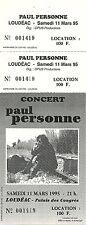 RARE / TICKET BILLET DE CONCERT - PAUL PERSONNE LIVE A LOUDEAC MARS 1995