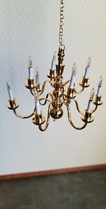 Dollhouse Miniature Hanging Chandelier 10 Arm Candle Warm Light 1:12 Scale 12v