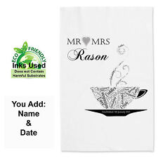 Personalised Wedding Day Tea Towel, 2nd Anniversary Cotton Towel Valentines Gift