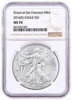 2016-(S) Silver Eagle Struck at San Francisco Mint NGC MS70 SKU46696