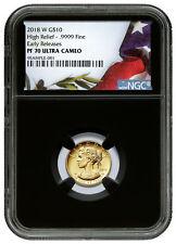 2018-W 1/10 oz American Liberty $10 Gold HR NGC PF70 UC ER Blck PRESALE SKU52158