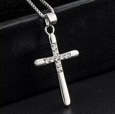 Real 925 Sterling Silver CZ Cubic Crystal Cross Pendant Necklace 18""
