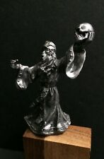 Pewter Fantasy Mythical Sorcerer Merlin Wizard Skelton Skull Miniature Figurine