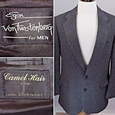 EGON VON FURSTENBERG for Men Camel Hair Blend Sport Coat Blazer Gray 42L