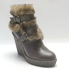Baby Phat Brown Ankle Furry Boots Demaris Wedge Women's Shoes 6.5
