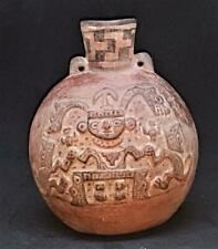 Superb Example  Pre Inca Terracotta Bottle with Male Figure -  Museum Provenance