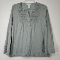 Sundance Women's Top Large L Gray Embroidery Long Sleeve Floral