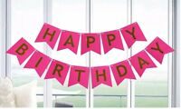 HOT PINK Happy Birthday Bunting Garland Gold Letters Party Hanging Banner HOT