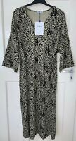 ZARA LEOPARD PRINT MIDI V-NECK DRESS WITH TIED BELT SIZE S BNWT