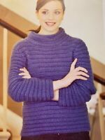 "Ladies Polo Neck Sweater Crochet Pattern Chest 32 - 38"" Aran  BR538"