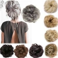 Natural Curly Wavy Messy Bun Hair Piece Clip In Real Thick Hair Extensions Wig