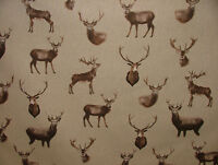 Mini Prints Country Side Animals Linen Look Fabric Curtain Upholstery Quilting