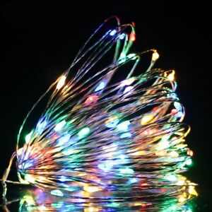 Fairy Lights 1M 10LEDs Battery Powered Silver LED Copper Wire String Light Decor