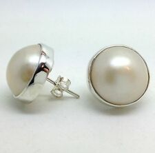 White/ Cream Mabe Pearl Stud Earrings, Solid Sterling Silver, New, 13mm diameter