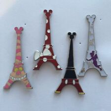 DISNEY PINS-PARIS EIFFEL TOWER-4 PINS AS SHOWN,Minnie,Mickey,Tink,Cheshire