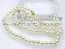 AAA++ 5-6mm perfect round white akoya pearl necklace 14k yellow gold 18 inch