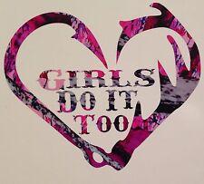 Wild Love Pink Camo Girls Do It Too Antler Truck Hook Vinyl Decal Hunt Deer